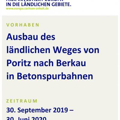 Baustellenschild LWB Poritz Berkau © Stadt Bismark